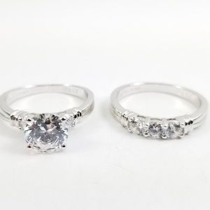 Platinum & Sterling 2.80 Diamonique 2 pc. Ring Set